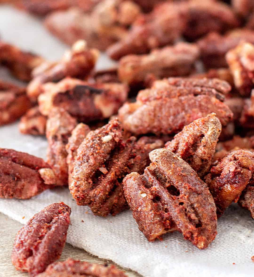 Close up of reddish sweet spicy pecans