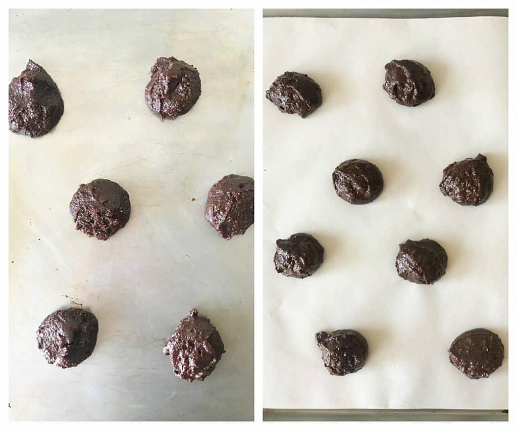 Image collage of unbaked brownie cookies on baking sheets