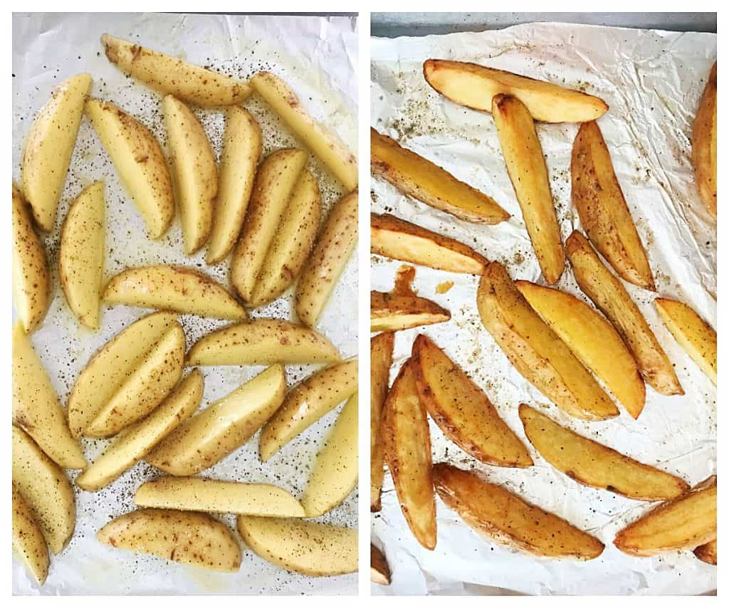 Image collage of raw and baked potato wedges