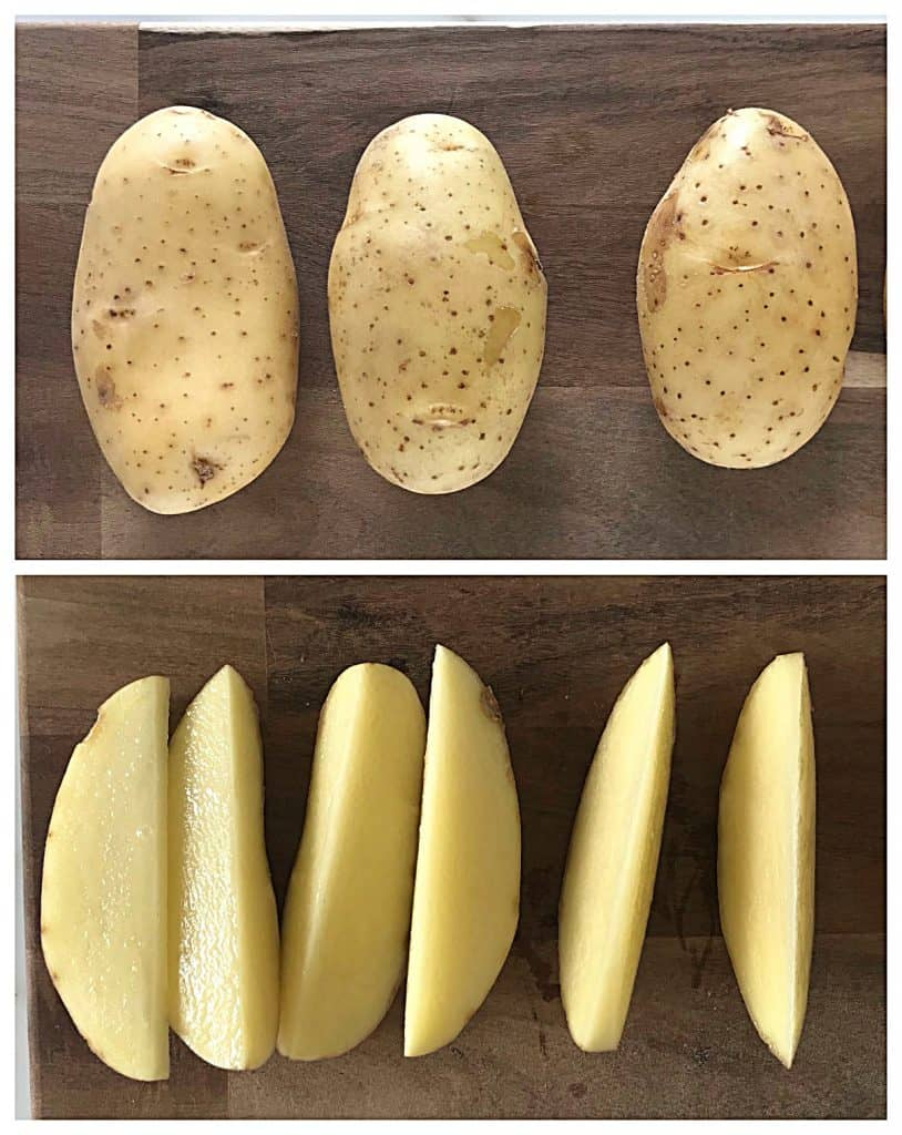 Image collage of whole potatoes and wedges on wooden boards