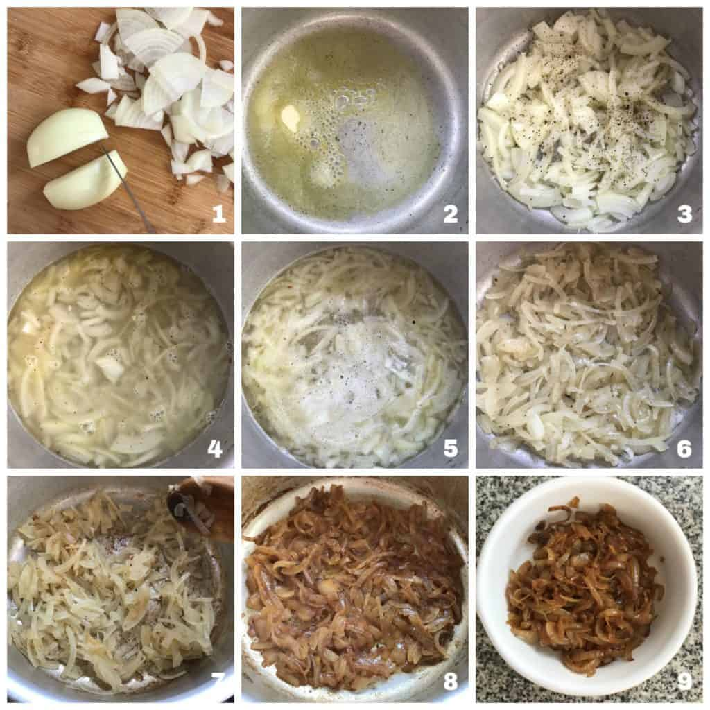 9 image collage of how to caramelize onions in saucepan
