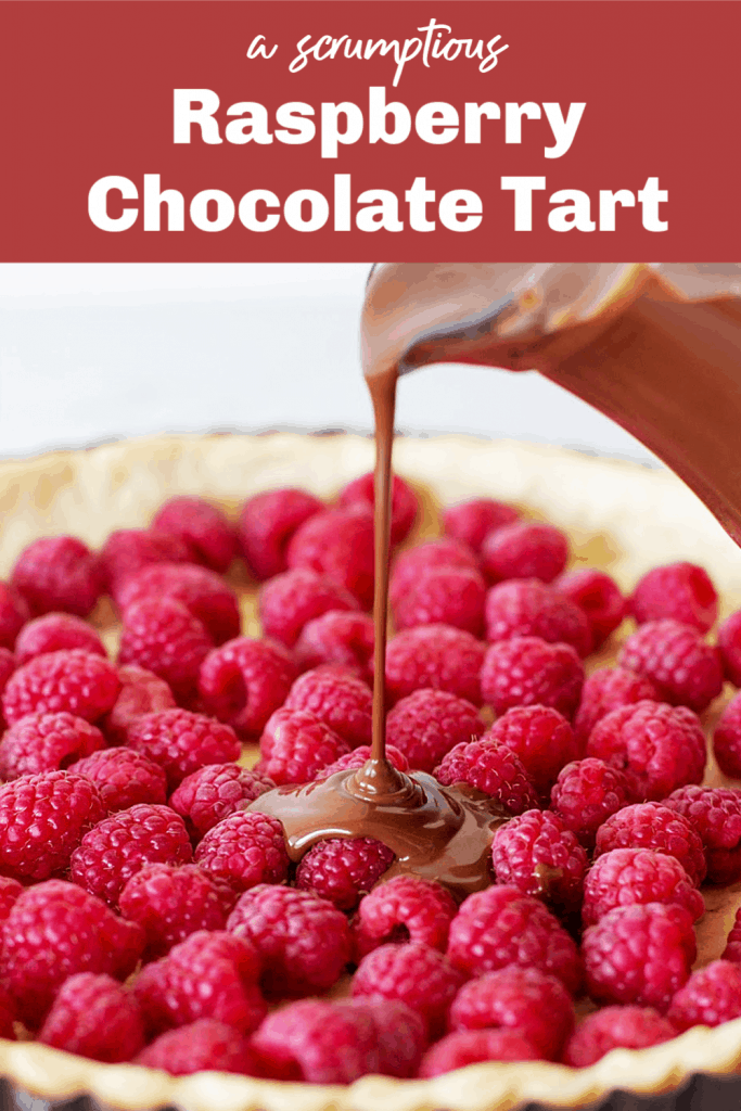 Pouring chocolate filling over raspberries, pin with text