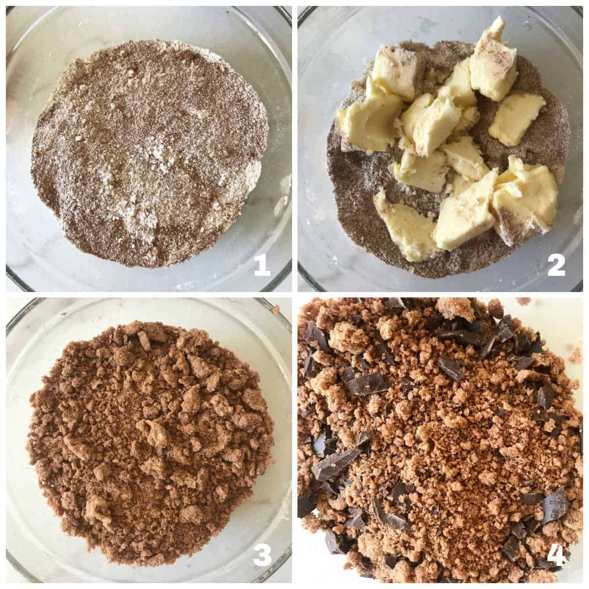 Chocolate crumble process collage, glass bowl with dry ingredients, adding butter and final mixture