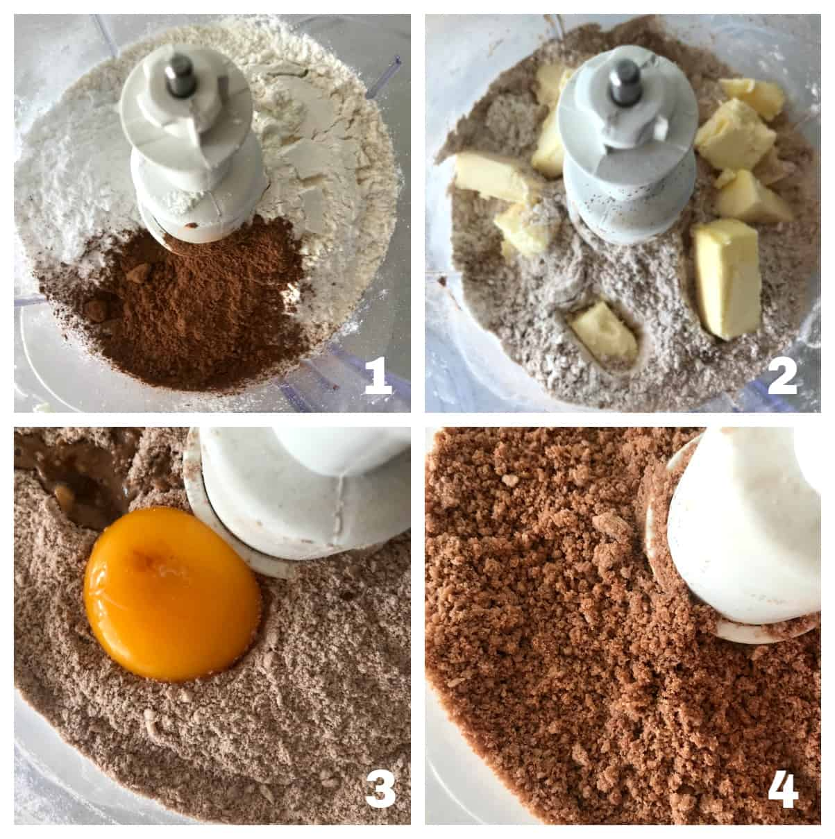 Making chocolate pie crust in the food processor, 4 images of process