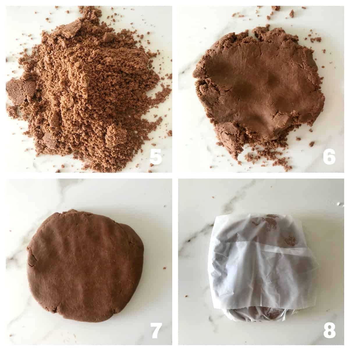 Chocolate mixture in white surface, patting it into a dough ball, wrapping it; 4 image Collage