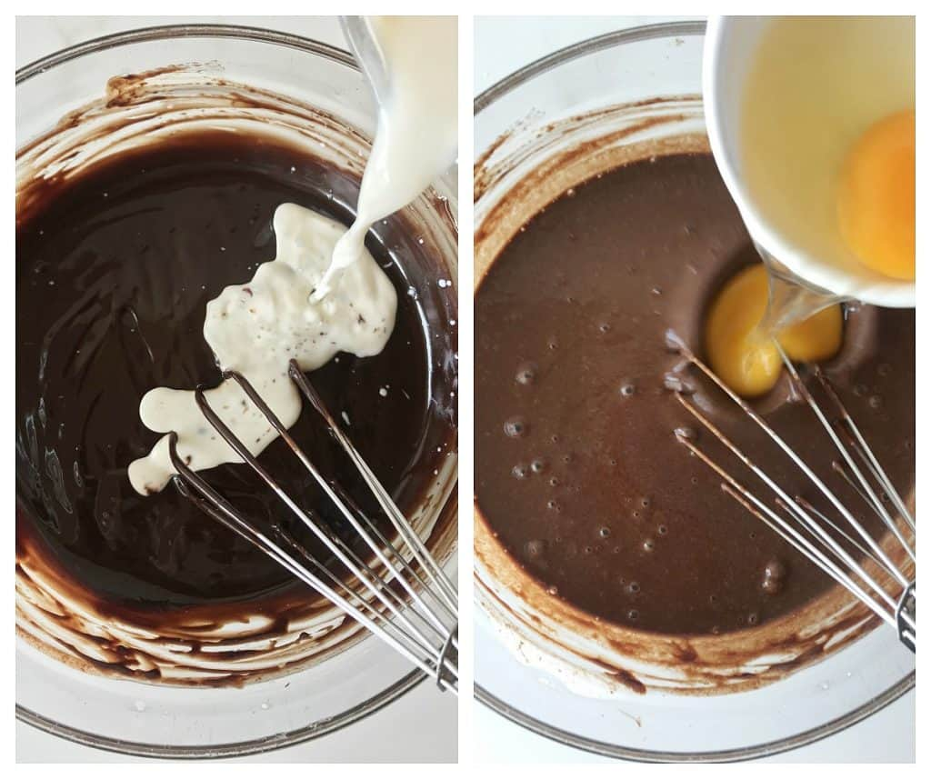 Image collage of bowls with melted chocolate, adding milk and eggs