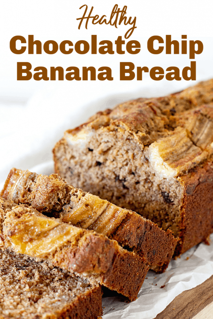 Loaf of banana bread on white paper, cut slices, pin with text