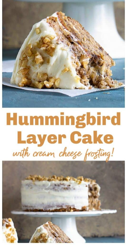 Hummingbird cake and slice on blue background, image collage with text