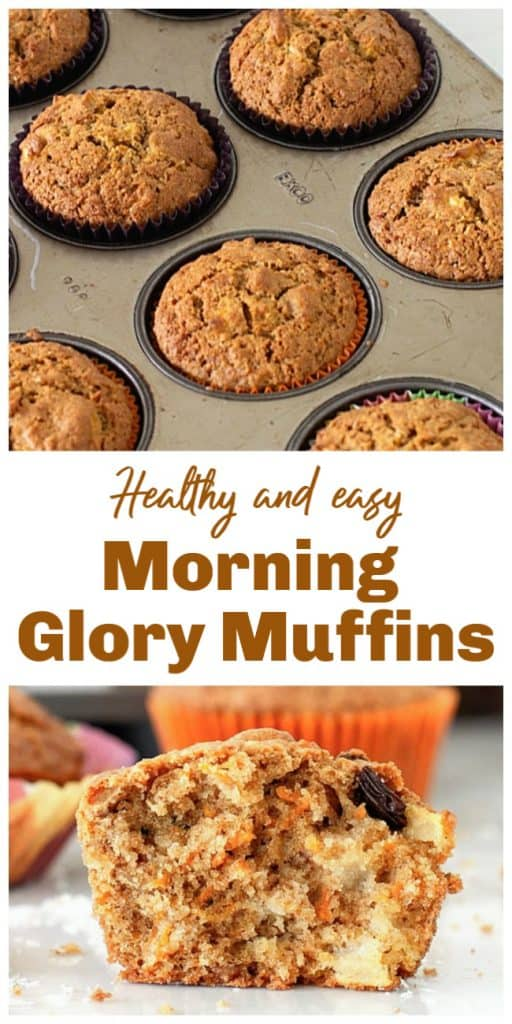 Baked muffins in pan and halved, long pin with text
