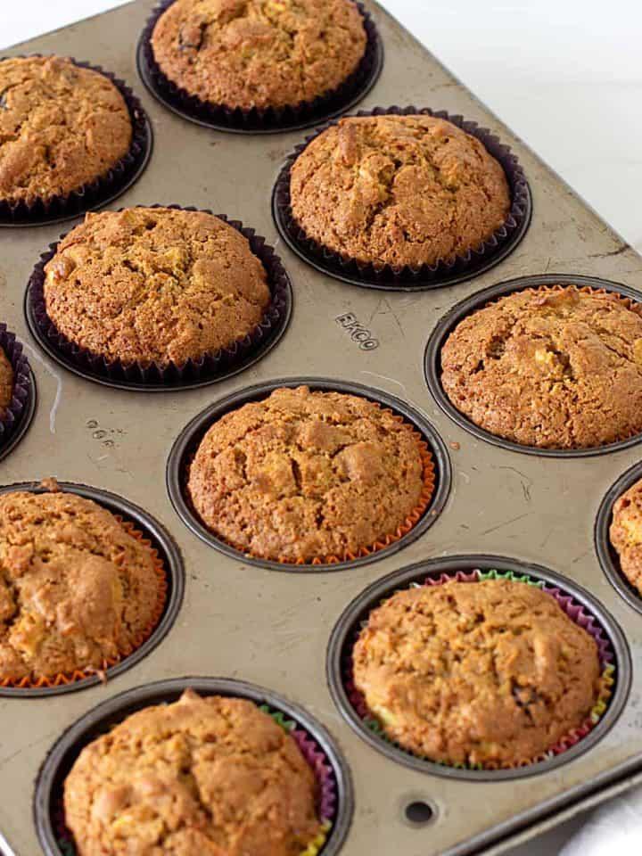 Baked muffins in metal pan