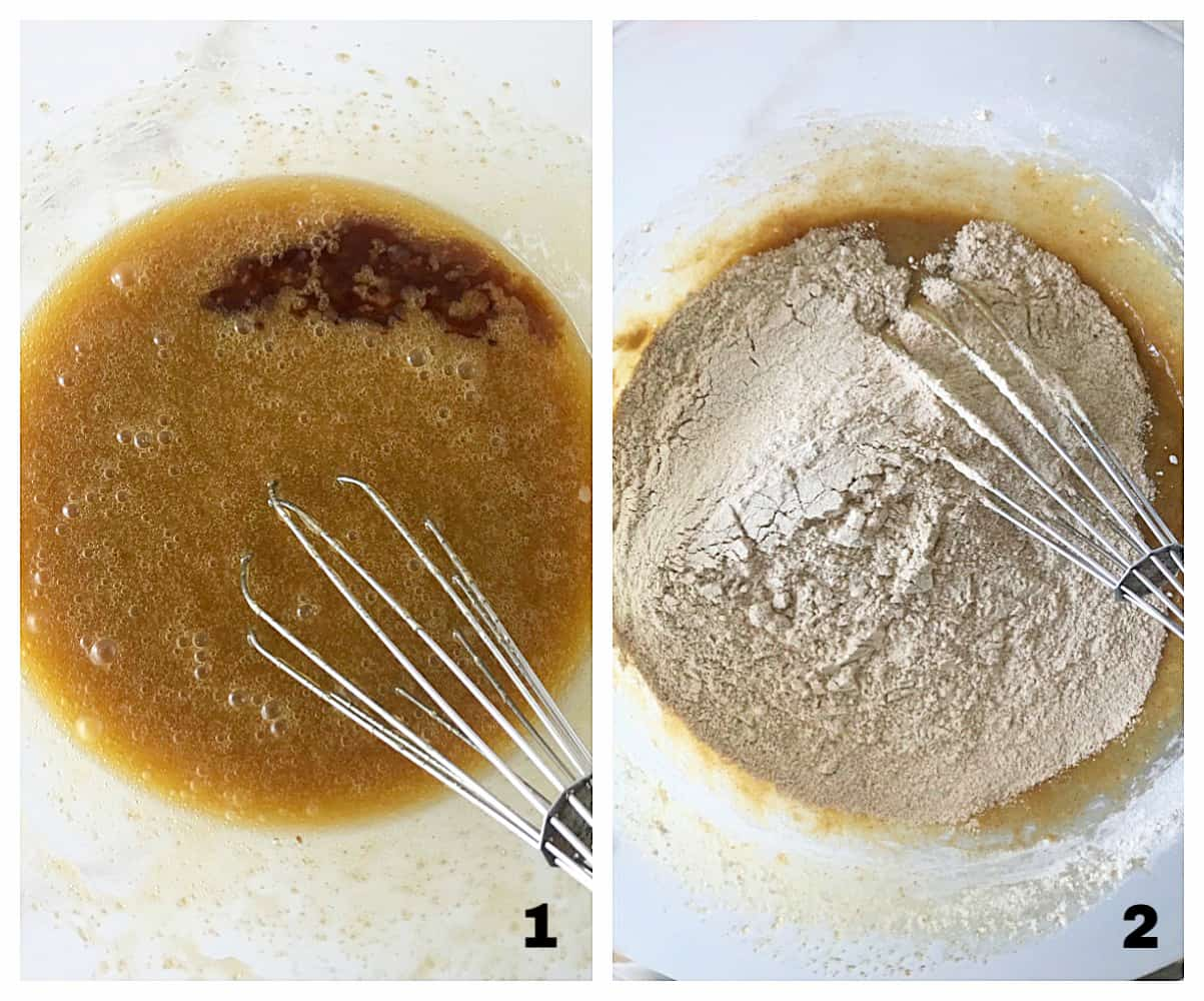 Mixing muffins in glass bowl, adding whole wheat flour; image collage