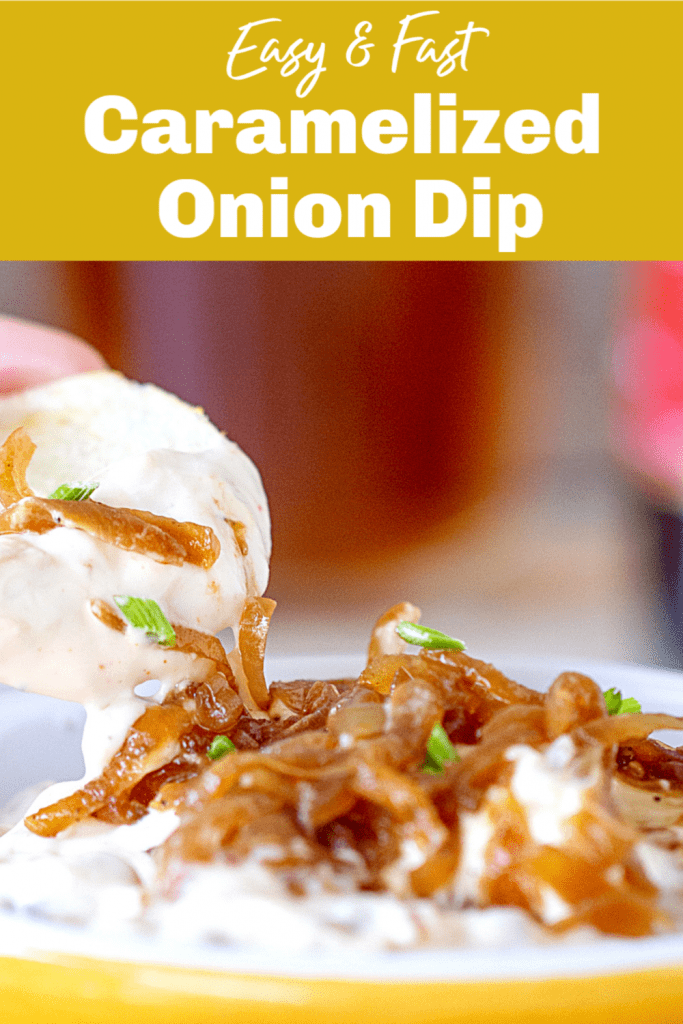 Hand lifting potato chip from yellow shallow bowl with onion dip, image with text