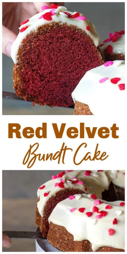 Hand lifting slice of red velvet bundt cake, long pin with text