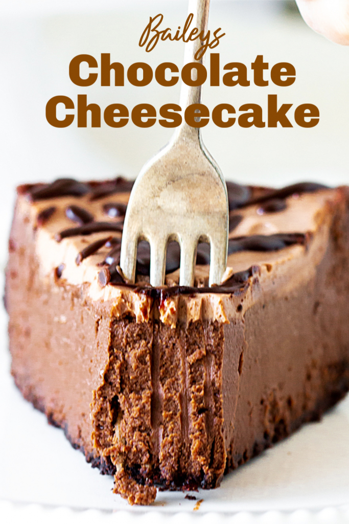 Forking a slice of chocolate cheesecake, pin with text