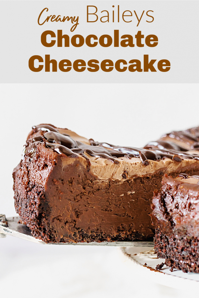 Pulling out a slice of chocolate cheesecake, pin with text