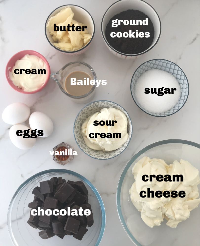 Ingredients for baileys chocolate cheesecake in bowls on white surface