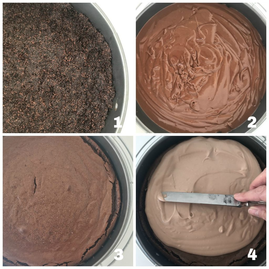 Image collage of process for chocolate cheesecake