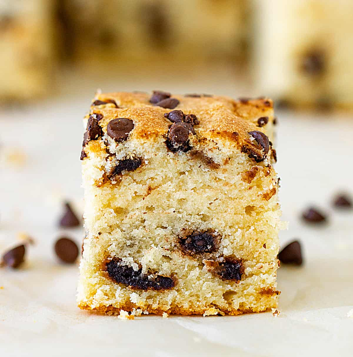 Frontal image of a vanilla cake square studded with chocolate chips on white surface