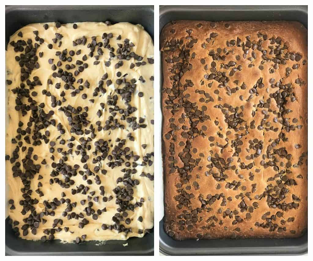 Image collage of vanilla cake with chocolate chips, raw and baked