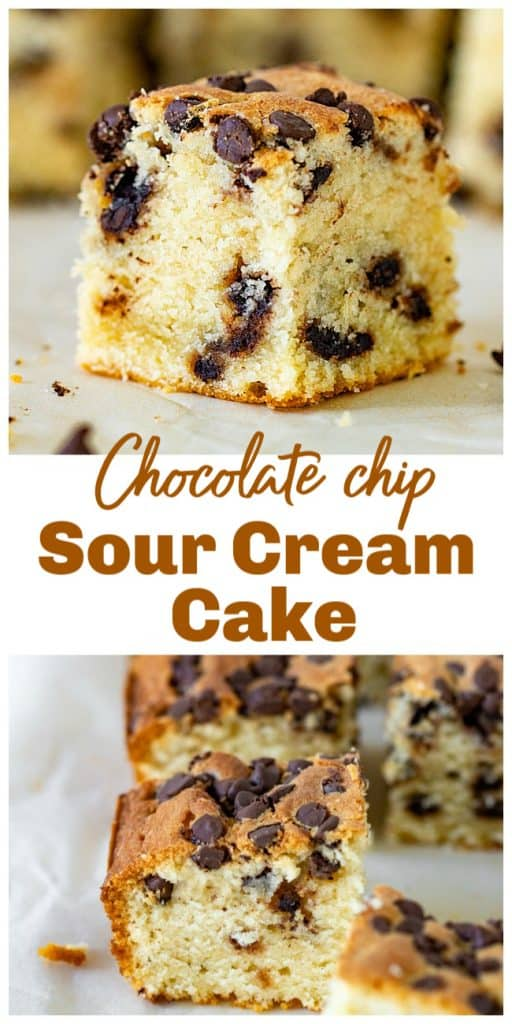 Squares of vanilla cake with chocolate chips, images with text