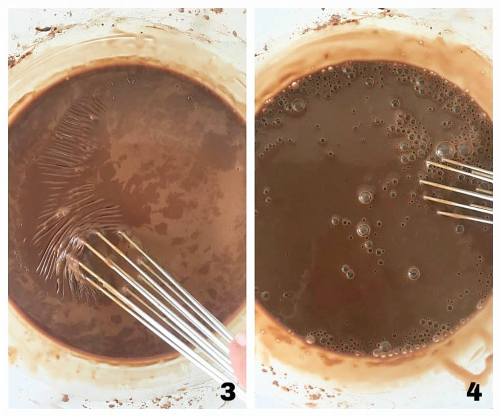 Glass bowl with chocolate mixture, image collage