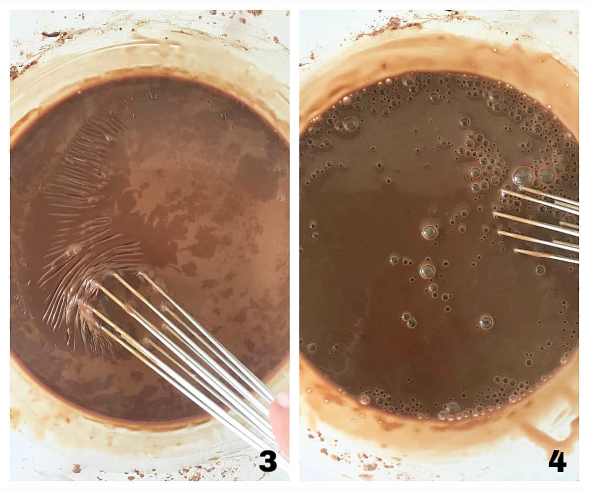 Mixing chocolate pudding mixture in glass bowl, image collage