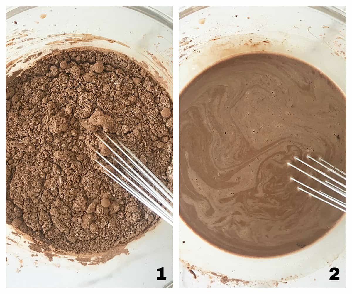 Dissolving cocoa powder in liquid in a Glass bowl, image collage