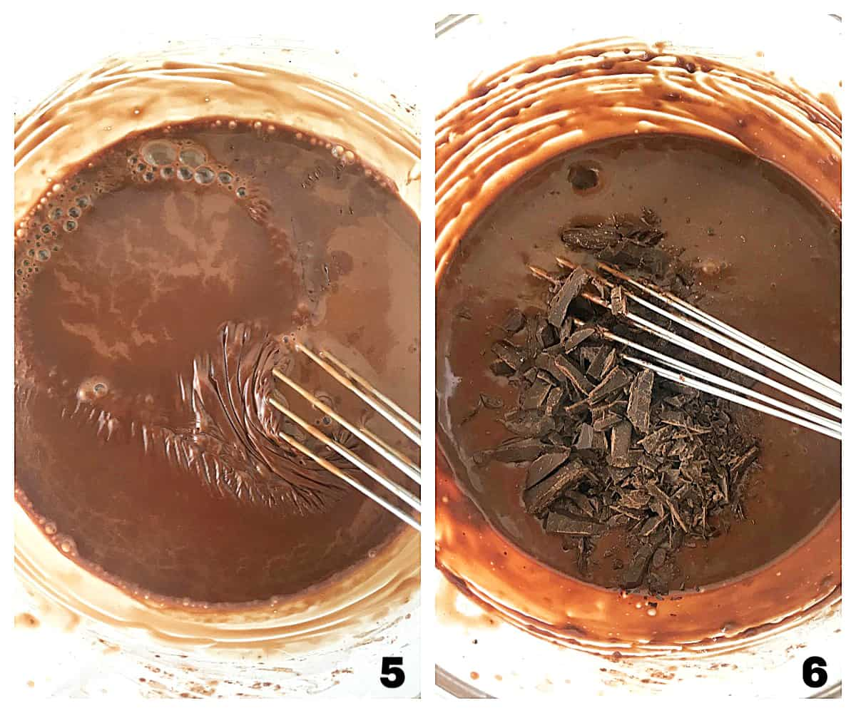 Mixing chocolate mixture, adding chopped chocolate; image collage