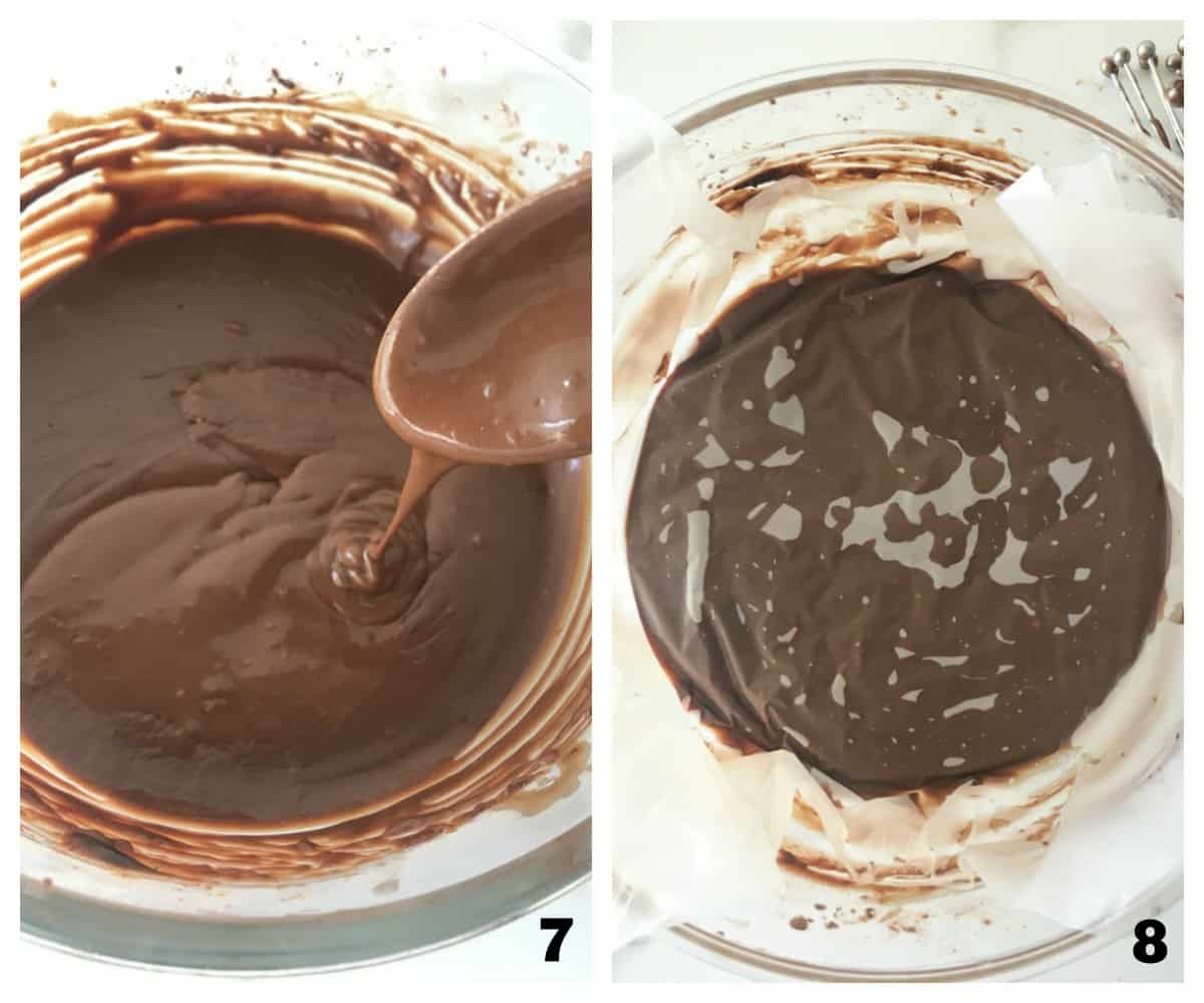 Wooden spoon in chocolate mixture, covering bowl with freezer sheets; image collage