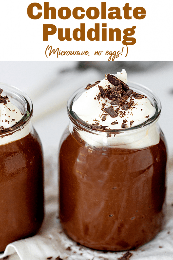 glass jars with chocolate pudding and cream, grey background, image with text