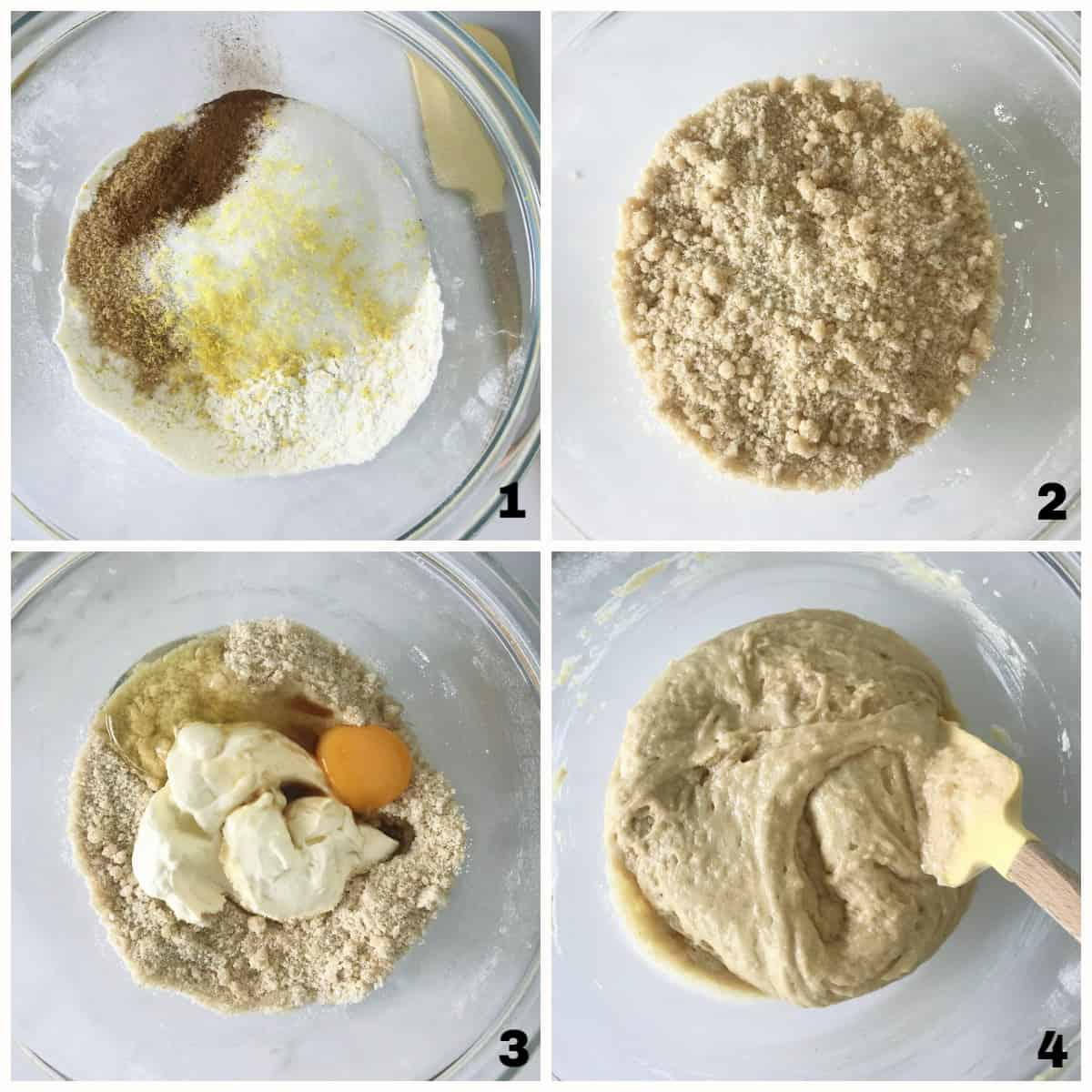Image collage of glass bowls with dry ingredients, making crumble, adding egg and mixing