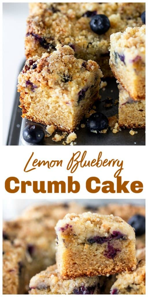 Squares of lemon cake with blueberries on metal surface, loose berries, long pin with text