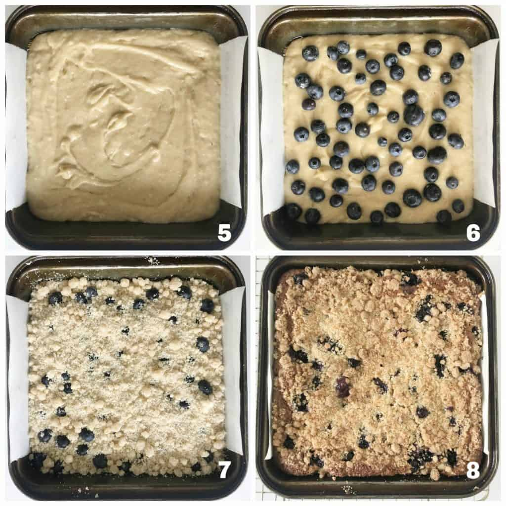 Image collage of metal pan with blueberry crumb cake process