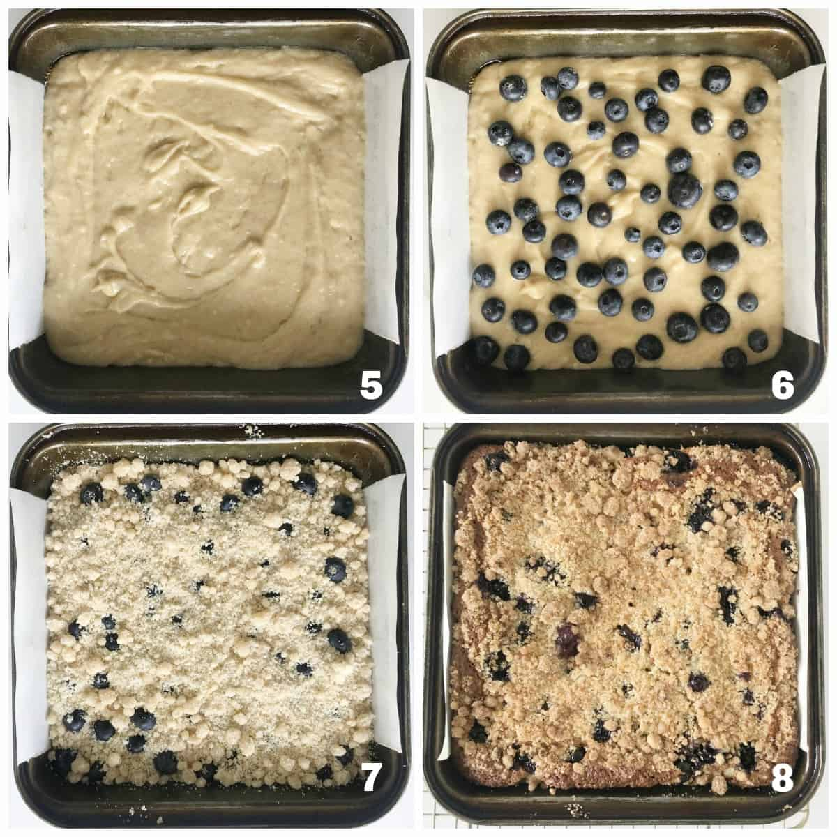 Image collage of metal pan with blueberry crumb cake process, from raw to baked