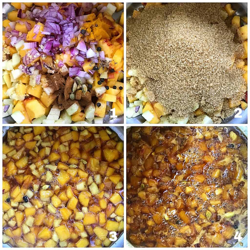 image collage of peaches, sugar and spices in saucepan and simmering