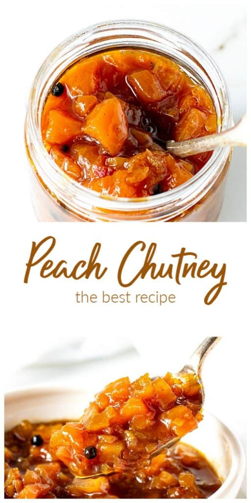 Glass jar and white bowl with peach chutney, long image with text