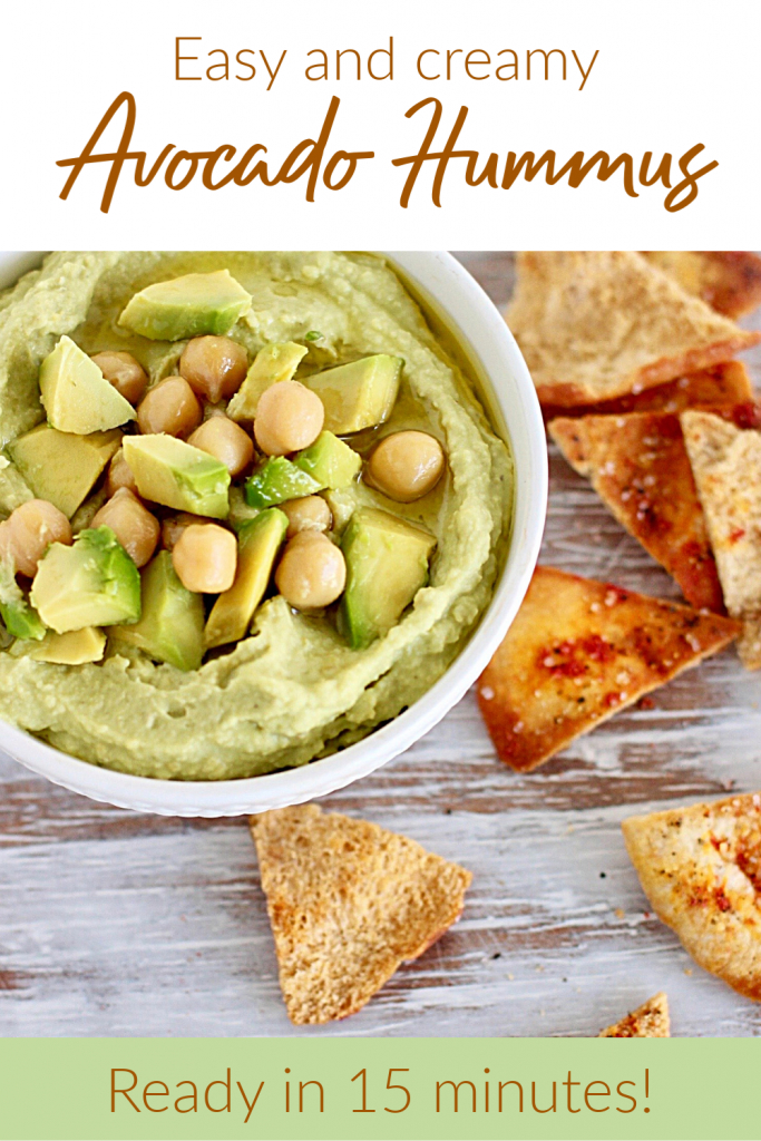 White bowl with green dip, chickpeas and pita chips; image with text