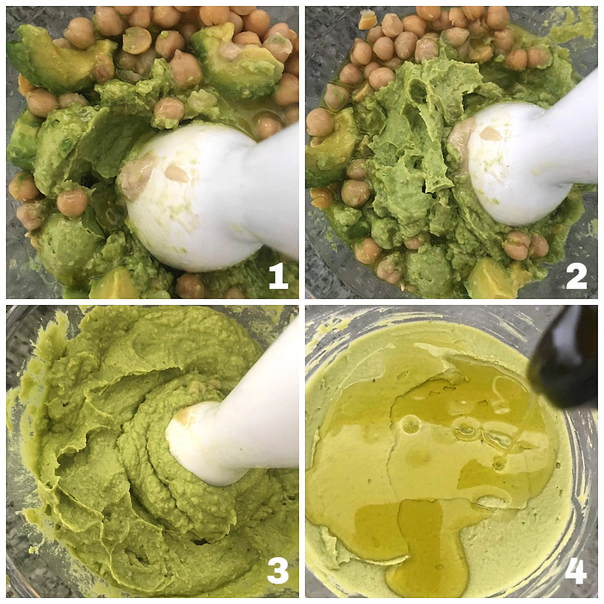 Image collage processing chickpeas, avocado and oil