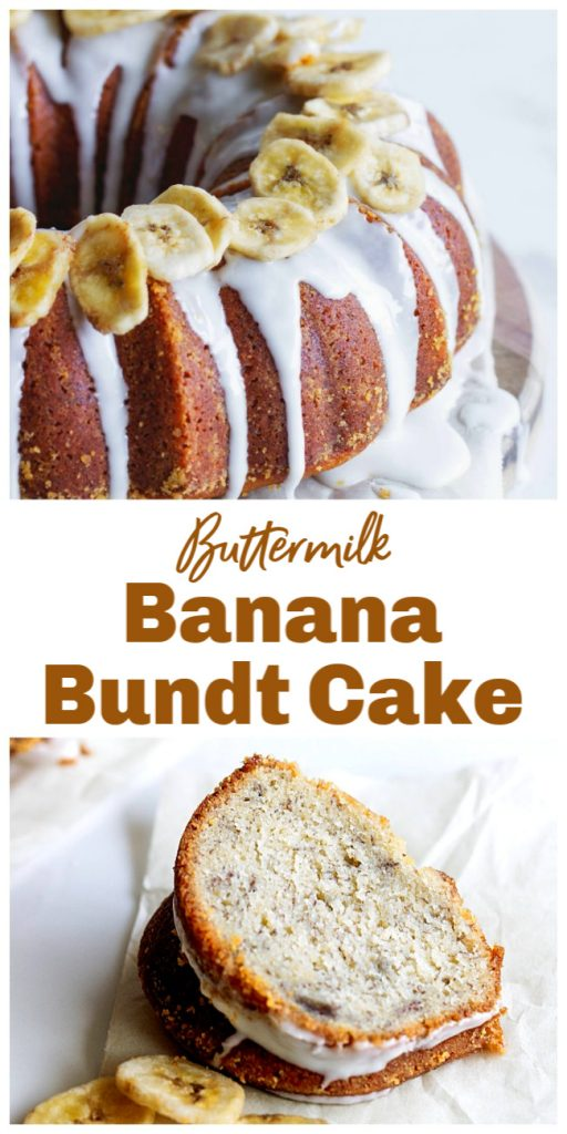 Slice and whole bundt cake, image collage with text