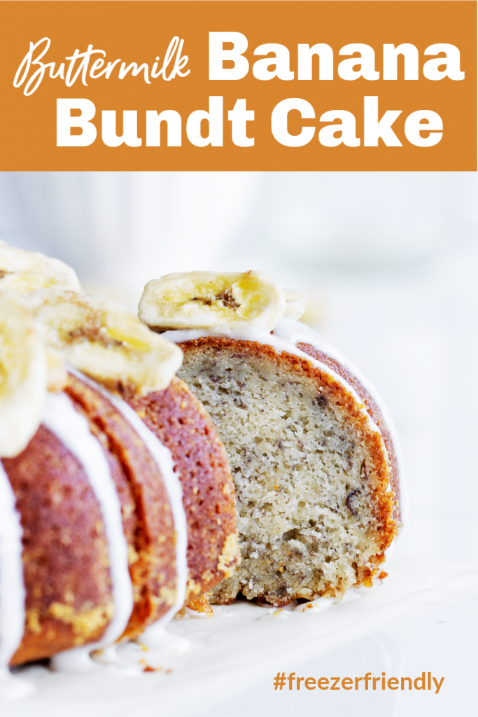 Slice of banana cake pulled out from whole bundt, white background, image with text