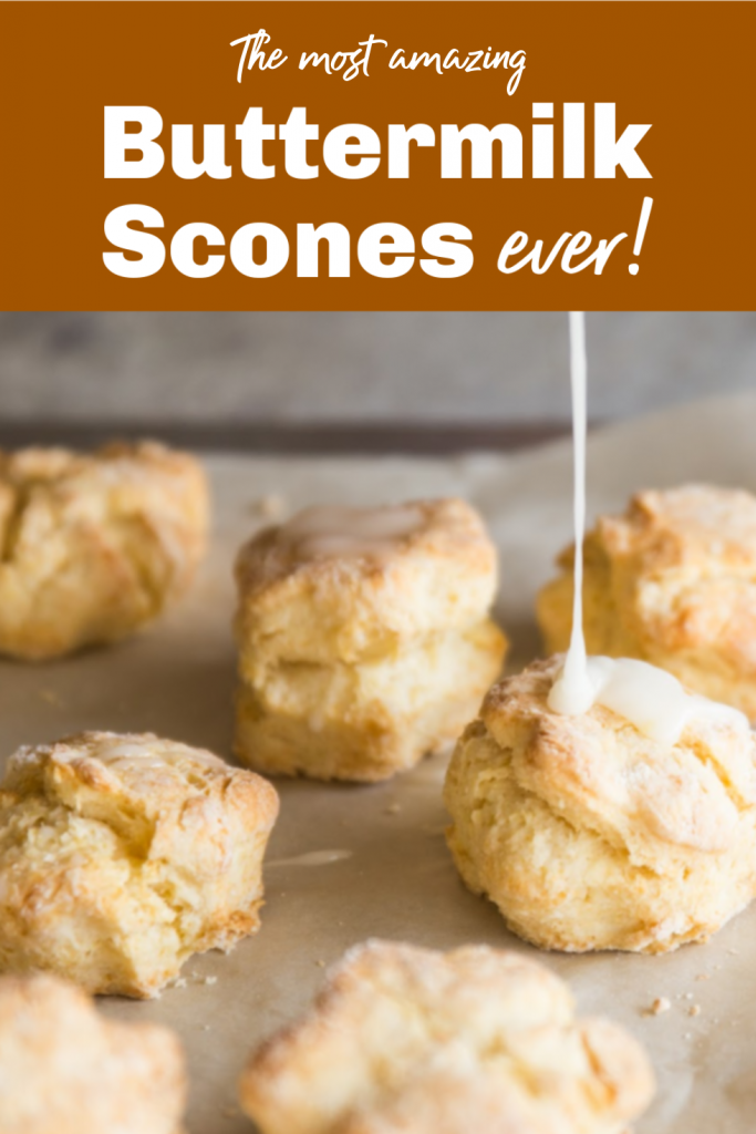 Glaze being poured onto baked scones, image with text
