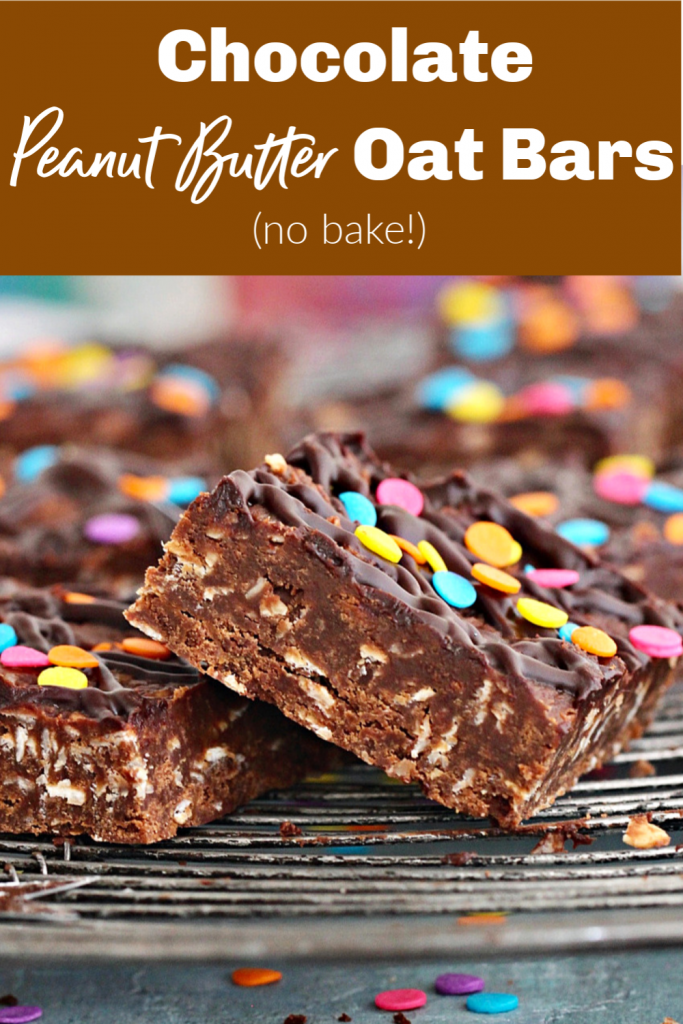 Chocolate oat squares on a wire rack with confetti, image with text