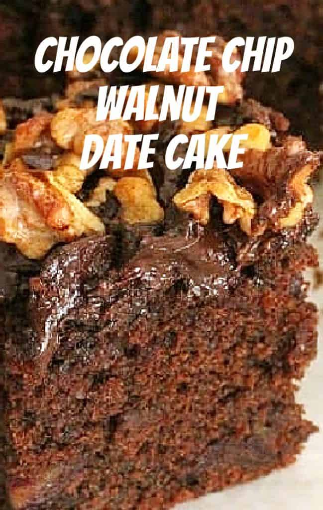 Close up image of chocolate cake topped with walnuts; white text overlay