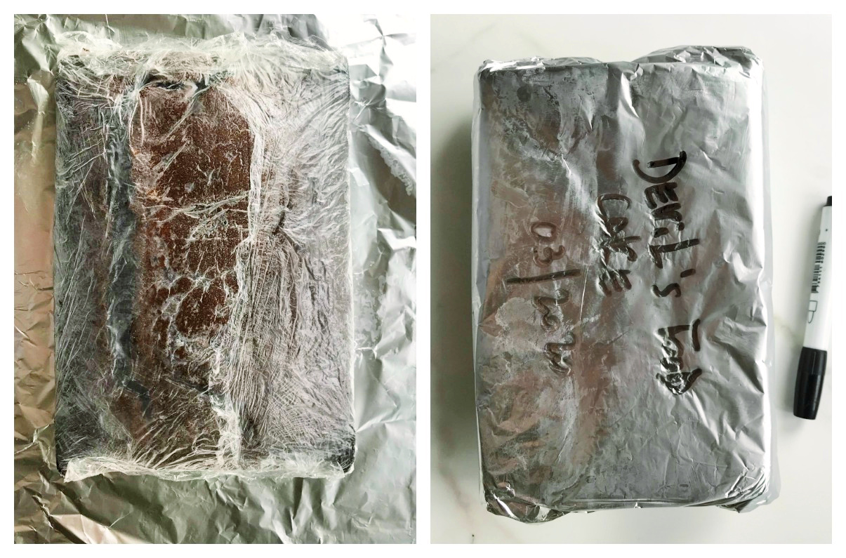 Wrapping a chocolate cake in plastic and foil. Image collage