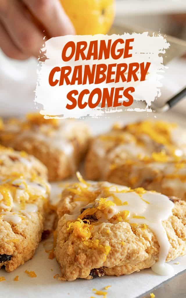 Triangle scones with glaze and orange zest, image with text