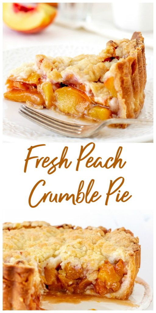 Image collage with text of peach pie in cake stand and slice in plate