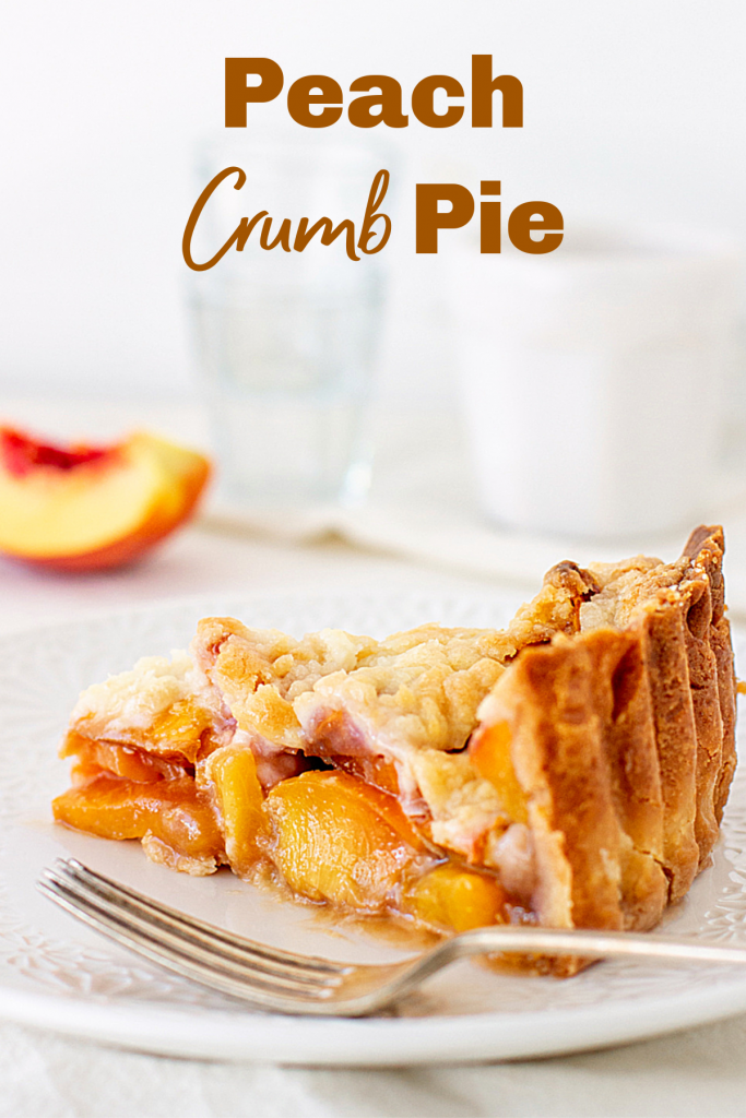 Slice of peach pie on white plate, silver fork, white background, image with text