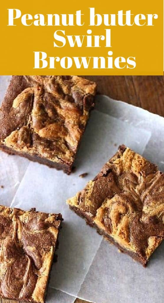 Three squares of peanut butter swirl brownies on white paper, yellow and white text