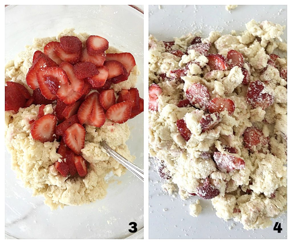Image collage of strawberries mixed into floury dough