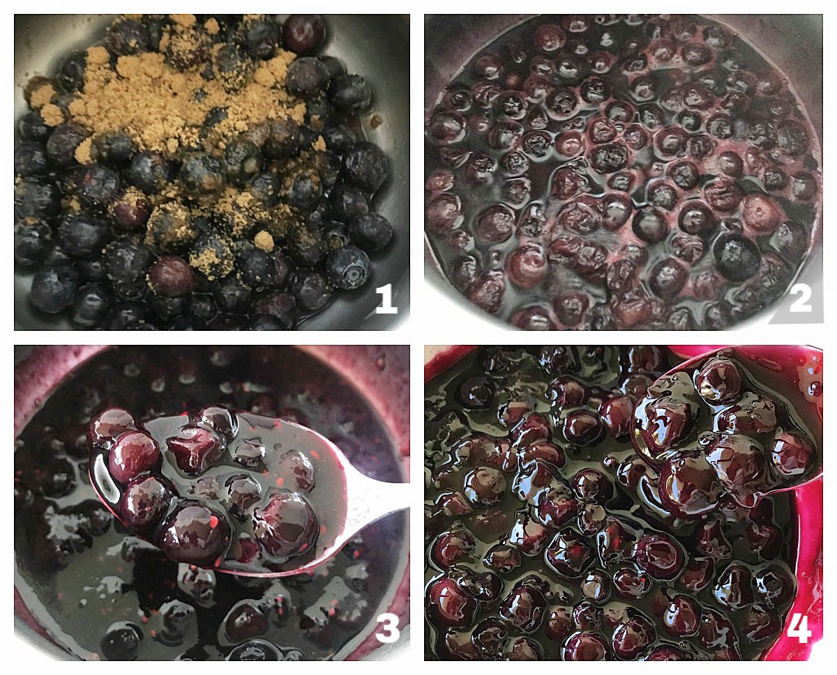Image collage of blueberries in pan, making sauce